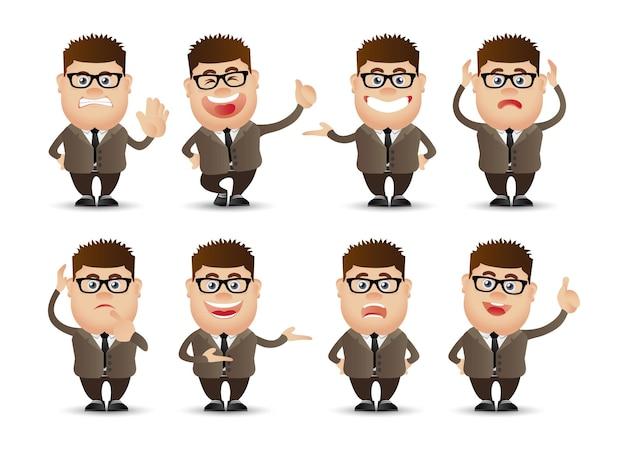 さまざまな感情を持つかわいい人々のビジネスマン