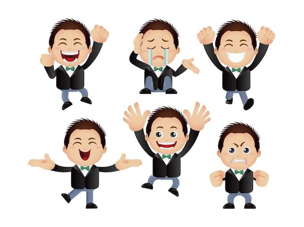 Милые люди деловые люди с разными эмоциями
