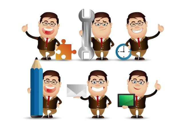 Cute people - businessman set.  business concept