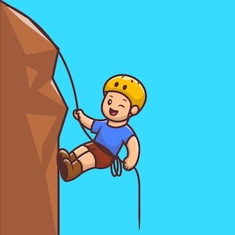かわいい人登山漫画アイコンイラスト。人スポーツアイコンコンセプト分離プレミアム。フラット漫画スタイル