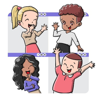 Cute people online meet up cartoon