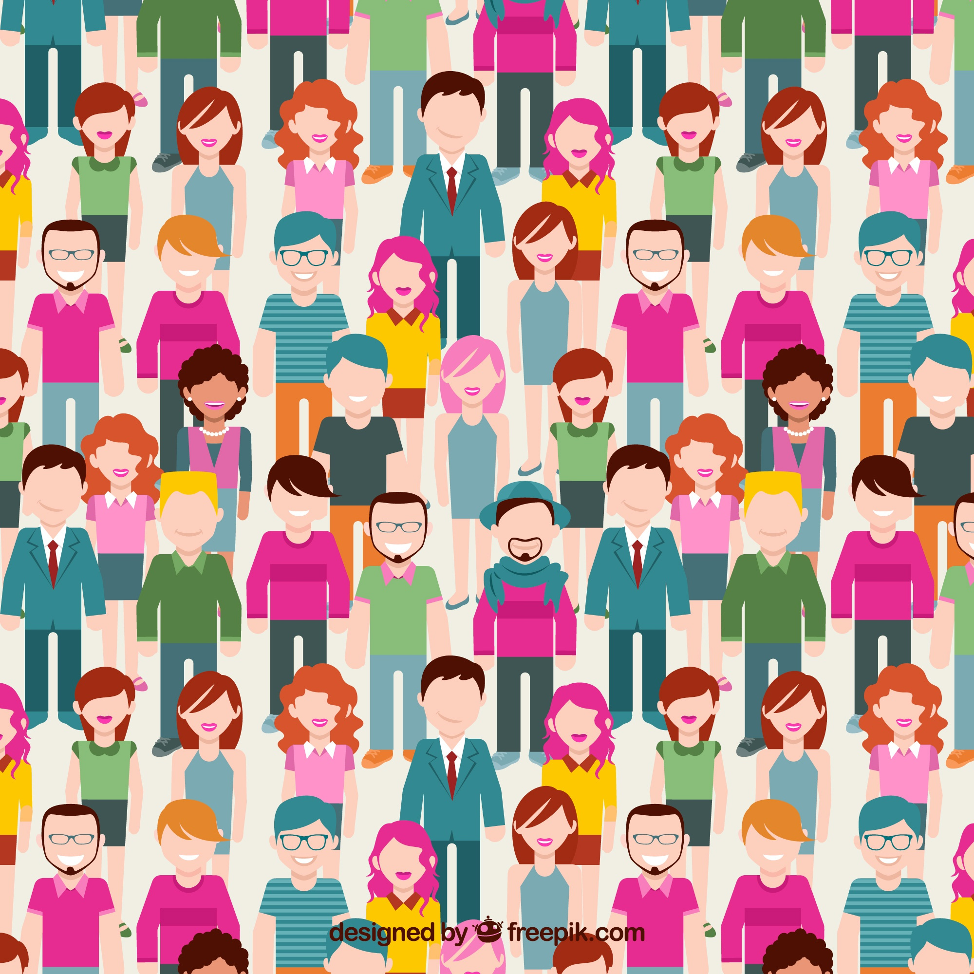 Cute people pattern with flat design