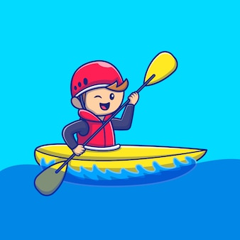 Cute people playing kayak cartoon icon illustration. people sport icon concept isolated premium . flat cartoon style