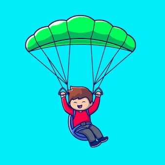 Cute people playing paragliding cartoon icon illustration. people sport icon concept isolated premium . flat cartoon style