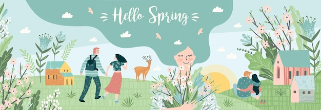 Cute people and spring nature.