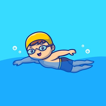 Cute people swimming cartoon icon illustration. people sport animal icon concept isolated premium . flat cartoon style