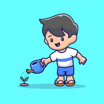 Cute people watering plant cartoon   icon illustration. people nature icon concept isolated  . flat cartoon style