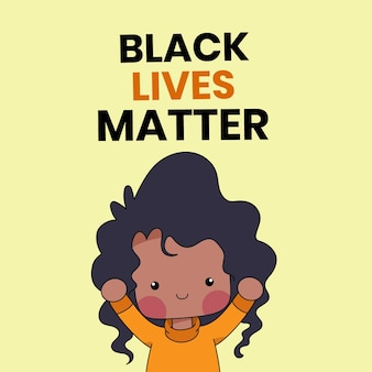 Cute  or people with the words black lives matter written on background. black history month illustration