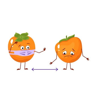 Cute persimmon characters with emotions, face and mask keep distance, arms and legs. people made of fruits or vegetables. the funny or sad hero. vector flat illustration