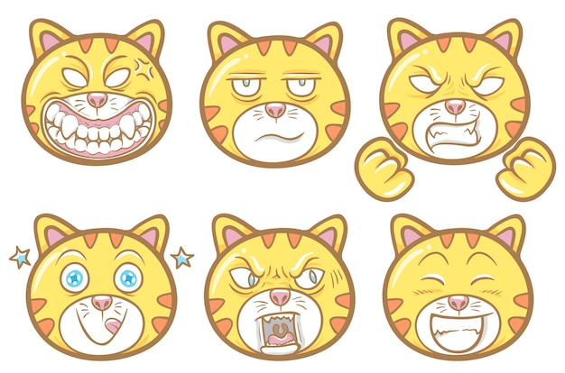 Cute pet animal cat emoticons illustration set