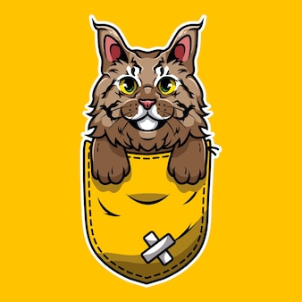 Cute pet cat cartoon that comes out of the pocket of the pouch