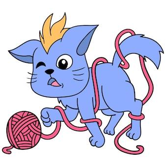 Милый котик играет с скрученным шпагатом, векторной иллюстрацией искусства. каракули изображение значка каваи.