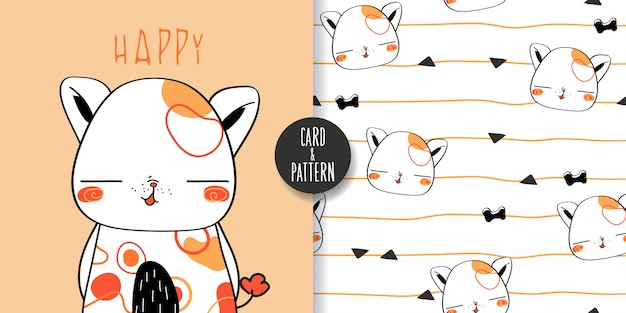 Cute pet dog drawings hand drawn pet holding a balloon in the hand gift for birthday wearing a simple patterned costume gestures funny and fun colorful face smile in seamless pattern and illustration