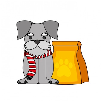 Cute pet dog with food bag