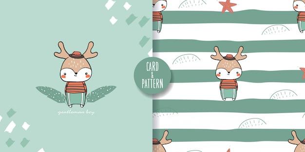 かわいいペットの子鹿のシームレスなパターンとイラスト