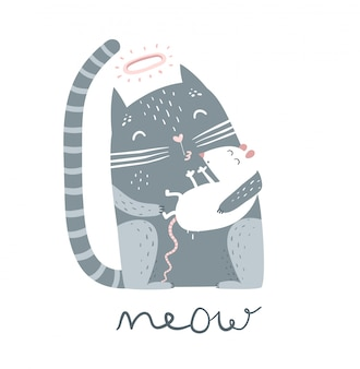 マウスとニャー文字で座っているかわいいペットの子猫。