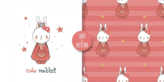 かわいいペットのウサギの絵手描きのペットレトロなパターンの衣装を着てジェスチャーカラフルな顔のシームレスなパターンとイラストで笑顔