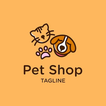 Cute pet shop logo design with cat dog and paw