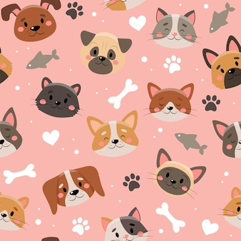 Cute pets pattern, different cats and dogs