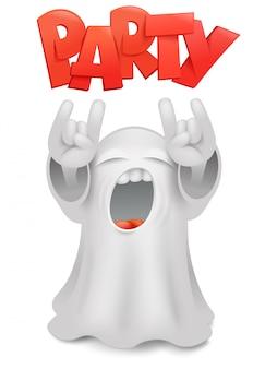 Cute phantom emoticon ghost character horns gesture.