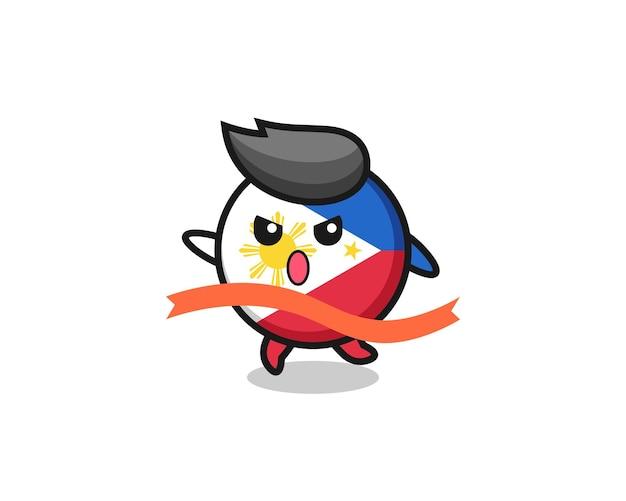 귀여운 필리핀 국기 배지 그림이 마무리에 이르고 있으며, 티셔츠, 스티커, 로고 요소를 위한 귀여운 스타일 디자인