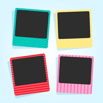 Cute photo frames in different colors and patterns
