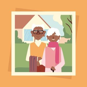 조부모의 귀여운 사진