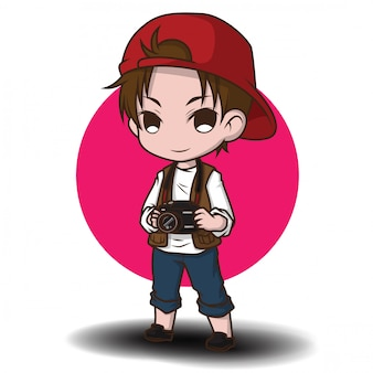 Cute photographer cartoon character.