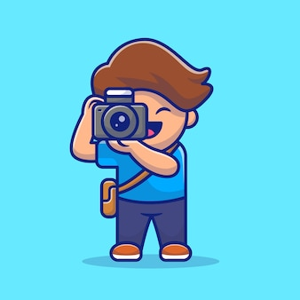Cute photographer cartoon illustration. people profession icon concept