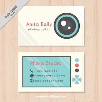 Cute photography business card, flat style