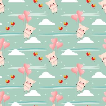 かわいい豚とハート型のバルーンのシームレスパターン。