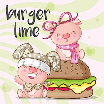 Cute pig animal and burger
