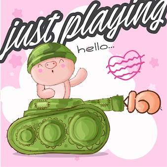 Cute pig animal military