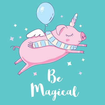 Cute pig as pegasus and unicorn