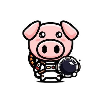 Cute pig in astronaut costume