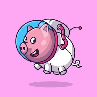 かわいい豚宇宙飛行士フローティング漫画ベクトルアイコンイラスト。動物技術アイコンコンセプト分離プレミアムベクトル。フラット漫画スタイル