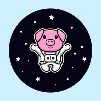 Cute pig astronaut floating on space mascot character