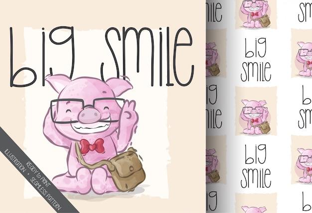 Cute pig big smiling seamless pattern