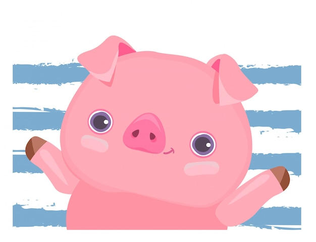 Cute pig on blue lines