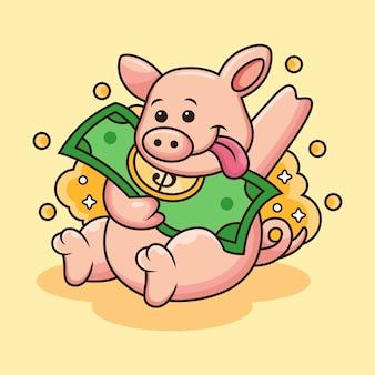 かわいい豚はお金のアイコンの図をもたらします。かわいいポーズの動物マスコット漫画のキャラクター