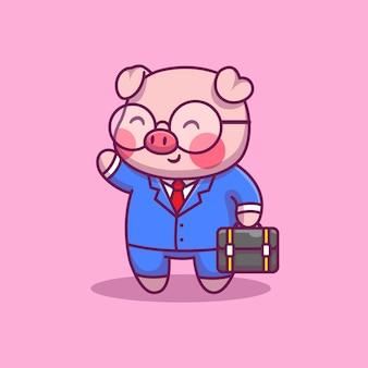 Симпатичные свинья бизнесмен мультфильм значок иллюстрации. бизнес и концепция животных значок изолированы. плоский мультяшный стиль