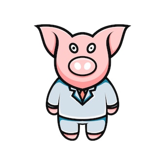 귀여운 돼지 사업가 만화 일러스트 레이션