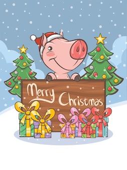 Cute pig cartoon character - christmas illustration
