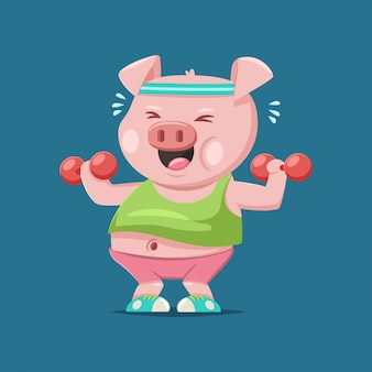 Cute pig cartoon character doing exercises with dumbbells