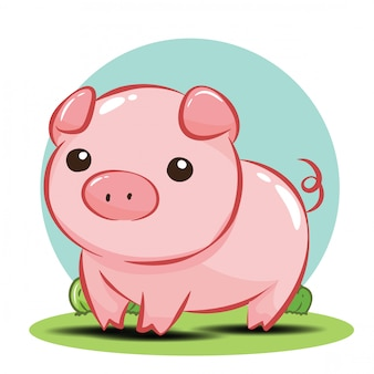 Cute pig cartoon character vector.