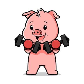 Cute pig cartoon design with dumbbells