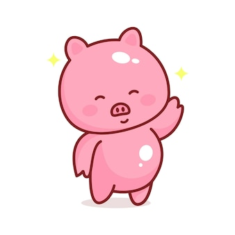 귀여운 돼지 만화 스타와 함께 단어 벡터 포옹