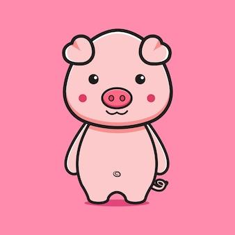 귀여운 돼지 만화 아이콘 그림입니다. 디자인 고립 된 평면 만화 스타일