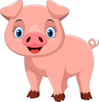 귀여운 돼지 만화 흰색 절연