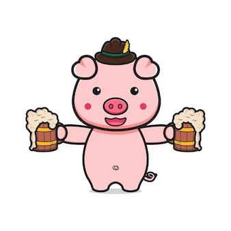 Cute pig celebrate oktoberfest cartoon icon illustration. design isolated flat cartoon style